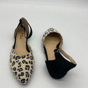 FSJ Leopard Flats Ankle Strap Pointy Toe Pump